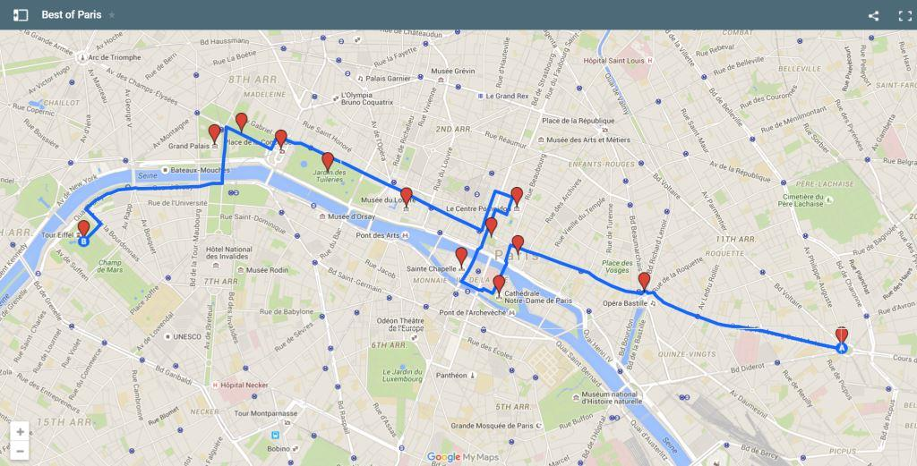 Paris Bike Tours Best of Paris Map