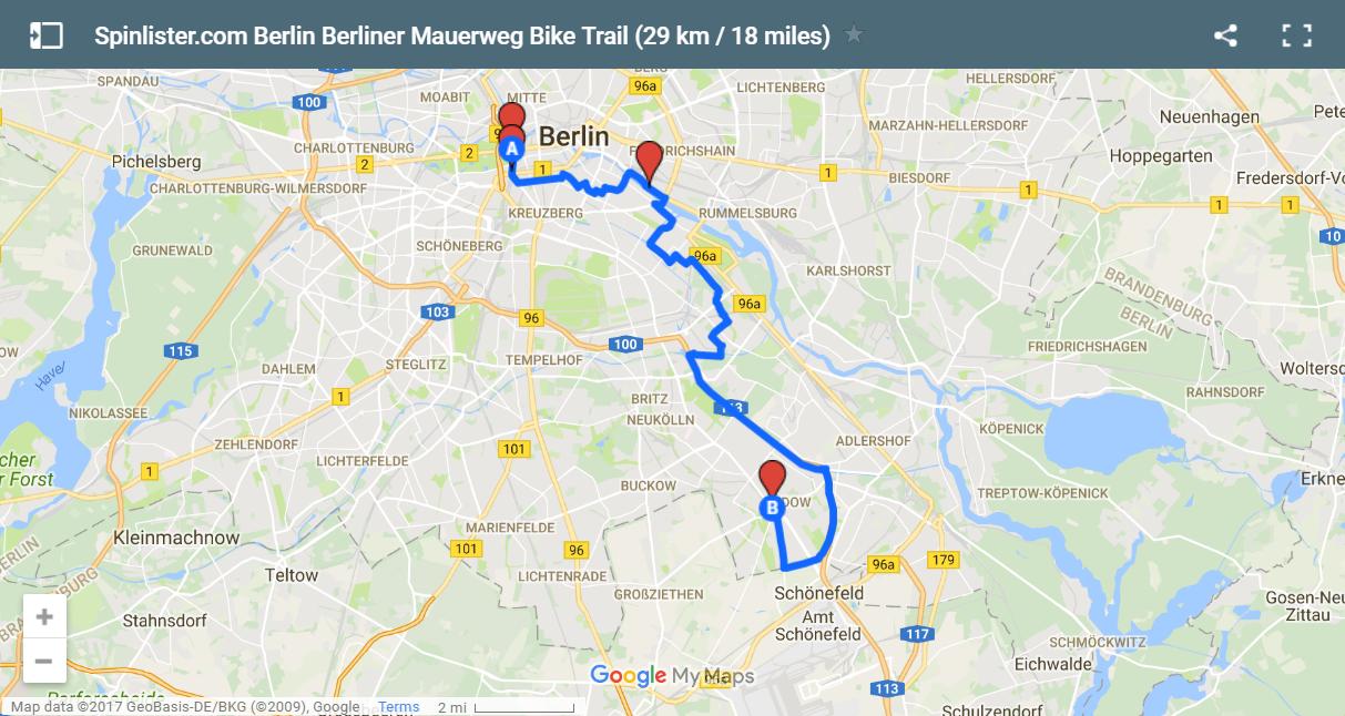 11 Berlin Berliner Mauerweg Map