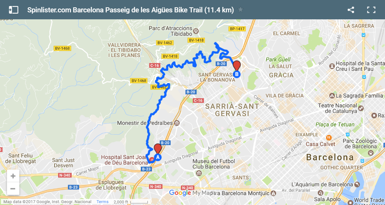 8 Barcelona Passeig de les Aigues Map